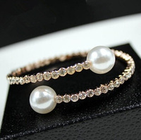 (min.order $10)2014 Trendy Luxury Crystal Pearl Fashion Women Bracelets Female Gold Plated High Quality Brand Jewelry