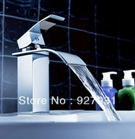Free Shipping Wholesale And Retail Chrome Finished Waterfall Bathroom Faucet Undercounter Basin Sink Mixer Tap