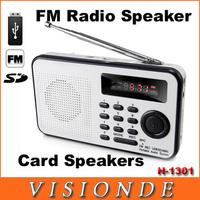 2014 New Fashion Portable Mini FM Radio Speaker ,The Aged Best Mini Digital FM Radio MP3 With USB SD Card Built-in Speaker H1301