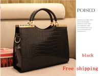 Spring and summer handbag crocodile pattern patent leather light leather hand shoulder bag special tide female bag free shipping