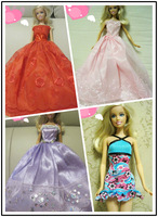 Free shipping Princess evening dress big pink skirt for Barbie Doll BBYF0045