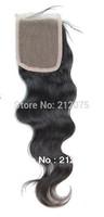 "High quality Brazilian virgin body wave human hair Lace Top Closure 4x4""  lace closure"