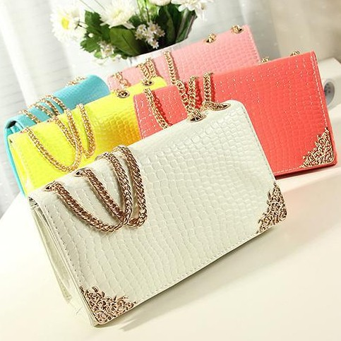 BUENO New 2014 Free Shipping Fashion Crocodile Shoulder Bag Chain