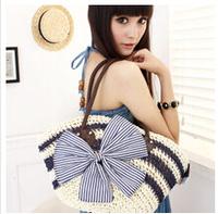 2014 straw bag rustic woven bag big stripe bow hook needle straw
