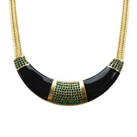 Fashion Design Black Color With Rhinestone Chunky Collar Necklace