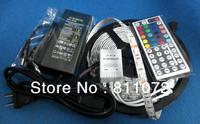 5sets/lot DHL free 5M 5050 RGB Waterproof 300 LED Strip Light+44Key IR Remote Controller+5A AC Power Supply 12V adapter