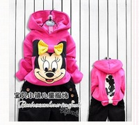 2013 Free shipping Kids girls spring clothing leisure suit Korean version of Mickey Mouse cartoon