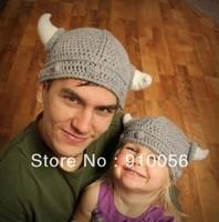 10Pcs Newborn Baby Cute Handmade Crochet Lael Viking Hat Children Knit Hat Photography props Kids Xmas Party Ox horn Wool Cap