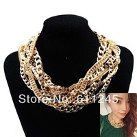 Min.order is usd15(mix order)Free Shipping Ladies Vintage Chunky Collar Statement Braided Chains Necklace