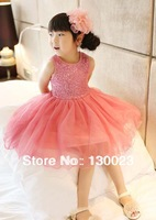 Girls sequins gauze lace dress bling bling in sunshine fashion girl's sequin vest dresses 1pcs Retail Hot Sell Free Shipping!