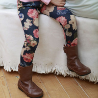 5pcs/lot girls winter warm fleece pants skinny flower printed trousers kids boots pants baby bootcut 390