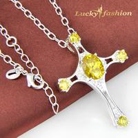 Birthday Best Gift Dazzling Yellow Zircon Cross Pendants High-End Silver Pendant +Free Chain