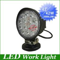 "New, 14pcs*3W 7.5"" 42W Flood/Spot beam LED Work Light driving Lamp Truck SUV Mining Off-road worklight led offroad driving light"