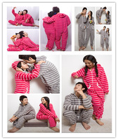 2013 autumn winter lovers' cartoon fleece pajamas hooded cute sleep romper jumpsuit for women men high quality leisure homewear