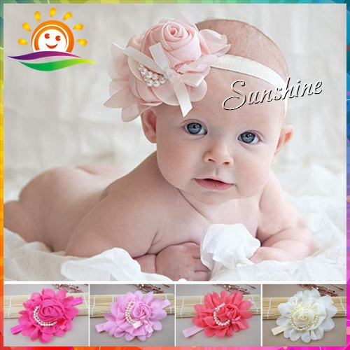 Sunshine store #2B2272 10pcs/lot (6 Colors) Newborn Infant Toddler girls baby Headband chiffone flower pearl elastic lace CPAM(China (Mainland))