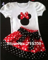 Retail! 2013 baby girl minnie shorts suits,t shirt + polka dot dress/shorts,fashion hot selling girls suits ((GQT-213))