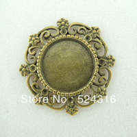 Free Shipping Wholesale DIY Antiqued Bronze Tone Vintage Alloy Lovely Lace Round Cameo Setting 14*14mm Pendant Charms 50pc A1157