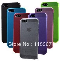HOT Sell Free Shipping matte transparent case 0.5mm ultra thin crystal case for iphone5 5g MIX COLORS Wholesales