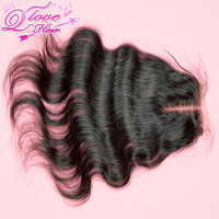 "queen hair products brazilian virgin hair body wave lace closure middle part 4""x3.5"",bleached knots,swiss lace,natural color"