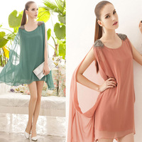 The new factory direct elegant candy-colored cloak cape decorated beads chiffon shirt blouse long paragraph 5803 #