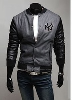 Logos Woolen Fabric Leather Patchwork  Stand Collar Slim Baseball Uniform Jacket