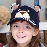 Free Shipping! Wholesale Baby baseball cap cotton multicolour child hats ,high quality baby's hats cute Visor/Little Bear style