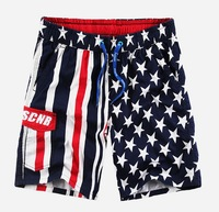 2014 New flag pattern Male Swimming Trunks Shorts100% cotton Men's Swimwear Short Beach Surf Board Shorts For Men, Free Shipping