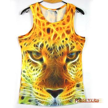 [Factory Directly]2015 Fashion WOMEN/MEN 3D sleeveless T shirt Top wolf/ tiger 3D Vest Tank Top Freeshipping