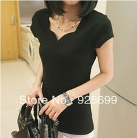 Freeshipping Summer Women's Slim Basic Shirt T-shirt Petals Collar Rib Knitting Short-sleeves Women Casual Shirts