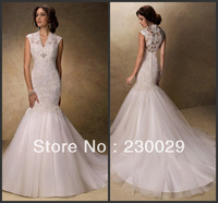 Free shipping Hot sale Amazing Mermaid/Trumpet V Neckline appliques Zip back Tulle Skirt Lace Western Wedding Dresses B13012
