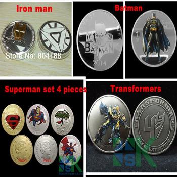 Transformers (bumblebee) Coin, Batman Coins,iron man coin,superman coins 40*3mm New 7pieces/ set Mix order