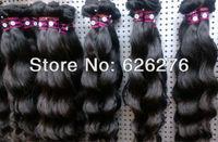 AAAAAA Quality Virgin hair-100% Virgin unprocessed Peruvian loose Wavy human Hair weft no tangle/shedding free SHIPPING 4pc lot