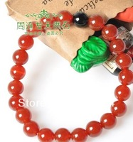 Minimum Order $ 8,10mm Free shipping wholesale fashion jewelry nice red natural agate jade bracelet