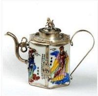 Beautiful China Porcelain White Monkey Flagon Teapot free shipping