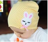 2014 Freeshipping Bonnets Skullies Gorro Autumn And Winter New Hot Selling Baby Children Kids Bow Rabbit Labeling Head Capjh252