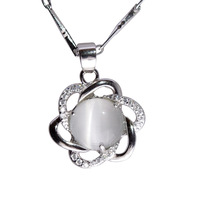 100% Guaranteed Genuine 925 Sterling Silver Pendant With White Opal&Zircon Wholesale Fashion Necklaces & Pendants YH2012