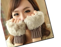 Imitation rabbit hair short paragraph hemp pattern knitted plush half finger gloves  Free shipping