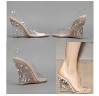 New!!! 2013 HOt Famous Brand Naked Rockstud Wedge Sandal Crystal cut clear high heel wedges Design shoes Free shipping