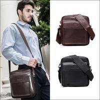 2014 Latest Popular Design Business Leisure Cow Leather Men Messenger Shoulder Ipad Bag Free Shipping Black Brown NO1931