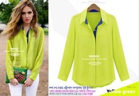 2013 Autumn new arrival Fashion women's brand designer Blouse boutique Fluorescent Color lapel long-sleeved chiffon Shirt 1563