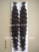 6A Brazilian Virgin Hair Deep Wave #2 Color I stick tip hair extension (1g/strand x 100) no tangle very soft