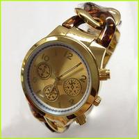 New Arrive! Luxury Brand Coffee Gold Quartz Japanese Movement Steel Chain Bracelet Wrist Watch Women Lady Girl  /w LOGO Calendar