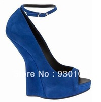 2013 newest no heel wedge sandal!blue suede fashion sandal shoe woman!
