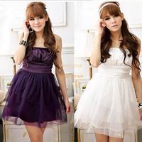 New Sexy Women's Strapless Bridesmaid Dress Satin Splicing Net Yarn Mini Dress 3 Colors Drop shipping B2 16763