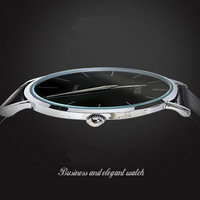 Men Ultrathin Quartz Watch 2014 New Fashion 3 Colors Retro Alloy Case Black Leather Watches Male Analog Wristwatch Free Shipping