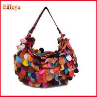 2015 New Fashion Handbags Personality  Women's Handbag Sheepskin Patchwork Bag Genuine Leather Hot Sell