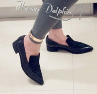 Aw british style horsehair  flat heel shoes female  women's shoes pointed toe flats