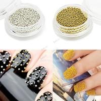 New 1mm Golden  Metallic Caviar Beads Studs Nail Art Glitter Nail Decoration 13229