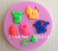 Free shipping New Silicone Baby Themed Cake Mold Baking Mould Baby Clay Gum Paste Fondant Feeder