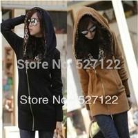 HOT SALE!2014  Women's Long Sleeve Leopard Jacket Coat Warm Sweater Outerwear Casual Hoodie Sweatshirt Size S M L Free Shipping